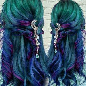Crescent Moon Rhinestone Hair Clip